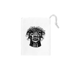 Fantasy Monster Head Drawing Drawstring Pouches (XS)  by dflcprints