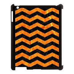 Chevron3 Black Marble & Orange Marble Apple Ipad 3/4 Case (black) by trendistuff
