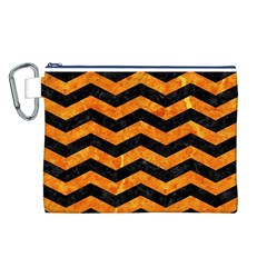 Chevron3 Black Marble & Orange Marble Canvas Cosmetic Bag (large) by trendistuff