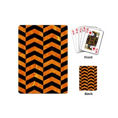 Chevron2 Black Marble & Orange Marble Playing Cards (mini) by trendistuff