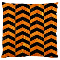 Chevron2 Black Marble & Orange Marble Large Flano Cushion Case (two Sides) by trendistuff