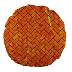 Brick2 Black Marble & Orange Marble (r) Large 18  Premium Flano Round Cushion  by trendistuff