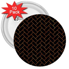 Brick2 Black Marble & Orange Marble 3  Button (10 Pack) by trendistuff