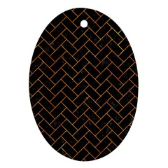 Brick2 Black Marble & Orange Marble Oval Ornament (two Sides) by trendistuff