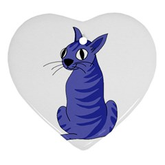 Blue Cat Heart Ornament (2 Sides) by Valentinaart