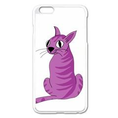 Purple Cat Apple Iphone 6 Plus/6s Plus Enamel White Case by Valentinaart