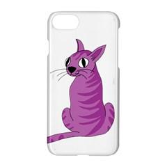 Purple Cat Apple Iphone 7 Hardshell Case by Valentinaart