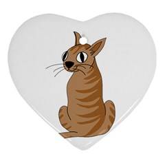 Brown Cat Ornament (heart)  by Valentinaart