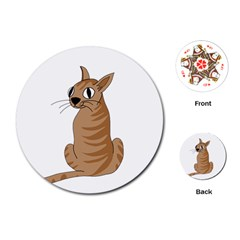 Brown Cat Playing Cards (round)  by Valentinaart