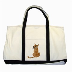 Brown Cat Two Tone Tote Bag by Valentinaart
