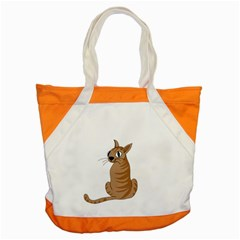 Brown Cat Accent Tote Bag by Valentinaart