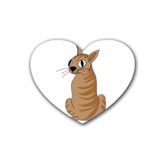 Brown Cat Heart Coaster (4 Pack)  by Valentinaart
