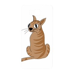 Brown Cat Samsung Galaxy Alpha Hardshell Back Case by Valentinaart