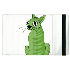 Green Cat Apple Ipad 3/4 Flip Case by Valentinaart