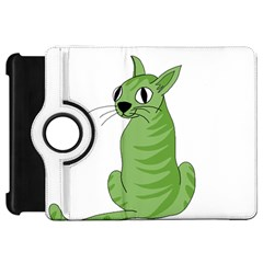 Green Cat Kindle Fire Hd 7  by Valentinaart