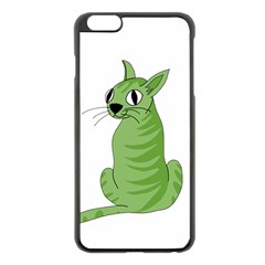 Green Cat Apple Iphone 6 Plus/6s Plus Black Enamel Case by Valentinaart