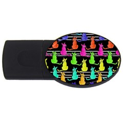 Colorful Cats Pattern Usb Flash Drive Oval (2 Gb)  by Valentinaart