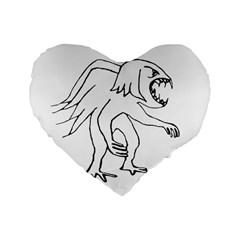 Monster Bird Drawing Standard 16  Premium Flano Heart Shape Cushions by dflcprints