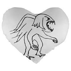 Monster Bird Drawing Large 19  Premium Flano Heart Shape Cushions by dflcprints