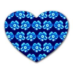 Turquoise Blue Flower Pattern On Dark Blue Heart Mousepads by Costasonlineshop
