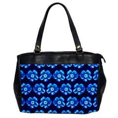 Turquoise Blue Flower Pattern On Dark Blue Office Handbags by Costasonlineshop