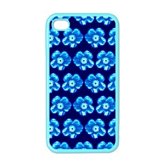 Turquoise Blue Flower Pattern On Dark Blue Apple iPhone 4 Case (Color) by Costasonlineshop