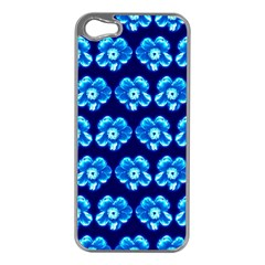 Turquoise Blue Flower Pattern On Dark Blue Apple Iphone 5 Case (silver) by Costasonlineshop