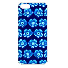 Turquoise Blue Flower Pattern On Dark Blue Apple Iphone 5 Seamless Case (white) by Costasonlineshop