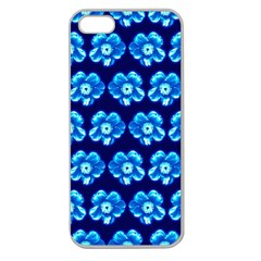 Turquoise Blue Flower Pattern On Dark Blue Apple Seamless Iphone 5 Case (clear) by Costasonlineshop