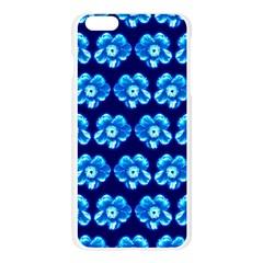 Turquoise Blue Flower Pattern On Dark Blue Apple Seamless iPhone 6 Plus/6S Plus Case (Transparent) by Costasonlineshop