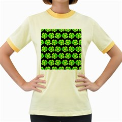 Green Yellow Flower Pattern On Dark Green Women s Fitted Ringer T-Shirts by Costasonlineshop