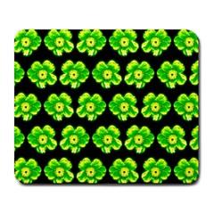 Green Yellow Flower Pattern On Dark Green Large Mousepads by Costasonlineshop