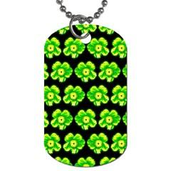 Green Yellow Flower Pattern On Dark Green Dog Tag (One Side) by Costasonlineshop