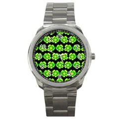 Green Yellow Flower Pattern On Dark Green Sport Metal Watch by Costasonlineshop