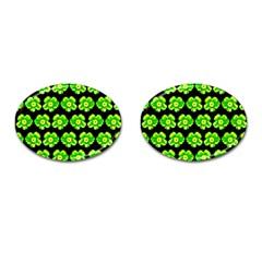 Green Yellow Flower Pattern On Dark Green Cufflinks (Oval) by Costasonlineshop