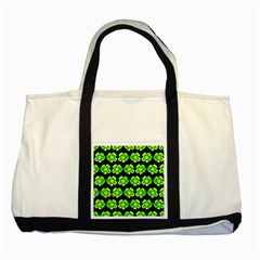 Green Yellow Flower Pattern On Dark Green Two Tone Tote Bag by Costasonlineshop
