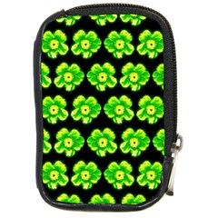 Green Yellow Flower Pattern On Dark Green Compact Camera Cases by Costasonlineshop