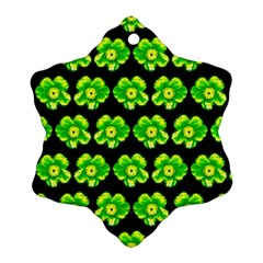 Green Yellow Flower Pattern On Dark Green Ornament (snowflake)  by Costasonlineshop