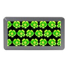 Green Yellow Flower Pattern On Dark Green Memory Card Reader (mini) by Costasonlineshop
