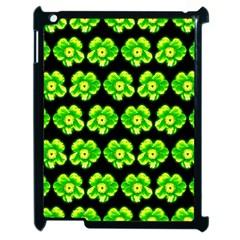Green Yellow Flower Pattern On Dark Green Apple Ipad 2 Case (black) by Costasonlineshop