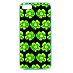 Green Yellow Flower Pattern On Dark Green Apple Seamless Iphone 5 Case (color) by Costasonlineshop