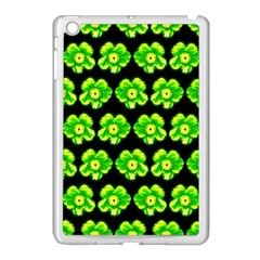 Green Yellow Flower Pattern On Dark Green Apple Ipad Mini Case (white) by Costasonlineshop