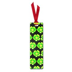 Green Yellow Flower Pattern On Dark Green Small Book Marks by Costasonlineshop