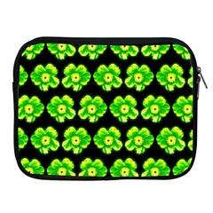 Green Yellow Flower Pattern On Dark Green Apple Ipad 2/3/4 Zipper Cases by Costasonlineshop