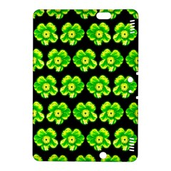 Green Yellow Flower Pattern On Dark Green Kindle Fire Hdx 8 9  Hardshell Case by Costasonlineshop