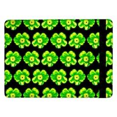 Green Yellow Flower Pattern On Dark Green Samsung Galaxy Tab Pro 12.2  Flip Case by Costasonlineshop