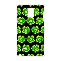 Green Yellow Flower Pattern On Dark Green Samsung Galaxy Note 4 Hardshell Case