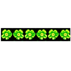 Green Yellow Flower Pattern On Dark Green Flano Scarf (large) by Costasonlineshop