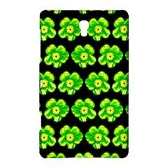Green Yellow Flower Pattern On Dark Green Samsung Galaxy Tab S (8 4 ) Hardshell Case  by Costasonlineshop