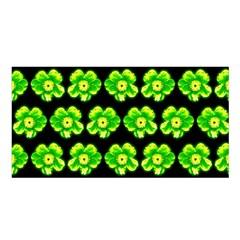 Green Yellow Flower Pattern On Dark Green Satin Shawl by Costasonlineshop